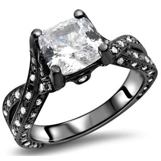 Noori 14k Gold Cushion Moissanite Black White Diamond Engagement Ring