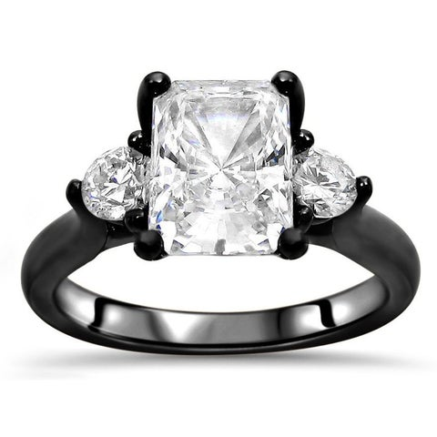 Noori Collection 14k Black Gold 2k TGW Radiant Cut Moissanite 3-stone Diamond Engagement Ring - White