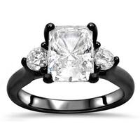 Noori Collection 14k Black Gold 2k TGW Radiant Cut Moissanite 3-stone Diamond Engagement Ring - White