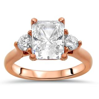Noori Collection 14k Rose Gold 2k TGW Radiant-cut Moissanite 3-stone Diamond Engagement Ring