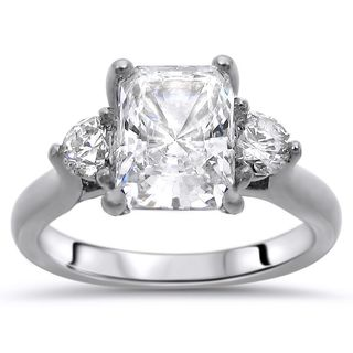 Noori 14k White Gold 3-stone Moissanite and Diamond Engagement Ring