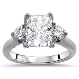 Noori 14k White Gold 3-stone Moissanite and Diamond Engagement Ring