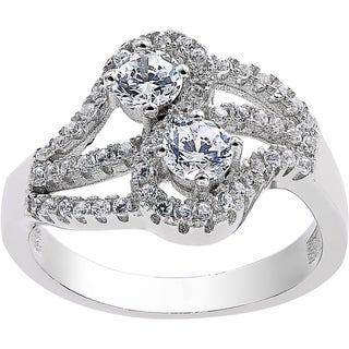 Sterling Silver Cubic Zirconia 2-stone 'You and Me' Ring