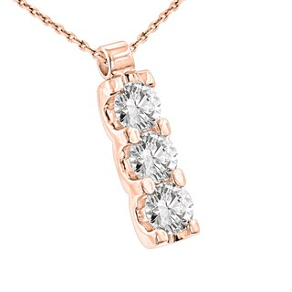 Luxurman 14k Gold 1 1/5ct TDW 3-stone Diamond Journey Pendant