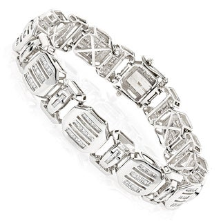 Luxurman 14k White Gold 7 1/2ct TDW Mens Bracelets Diamond Baguette Bracelet (H-I, SI1-SI2)