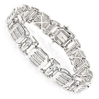 Luxurman 14k White Gold 7 1/2ct TDW Mens Bracelets Diamond Baguette Bracelet