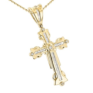 Luxurman 10k Gold 1 1/8ct TDW Round Baguette Diamond Cross Pendant (H-I, SI1-SI2)