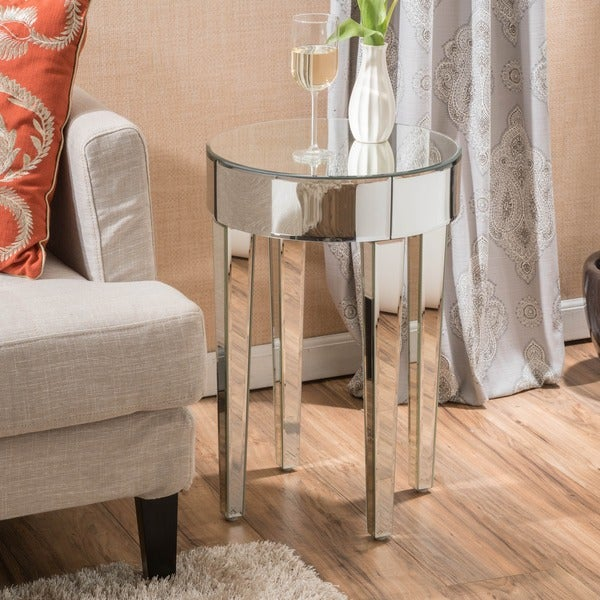 Normandie Mirrored Round End Table By Christopher Knight Home   Free  Shipping Today   Overstock.com   18852998