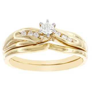 H Star 14k Yellow Gold 1/5ct TDW Diamond Bridal Set