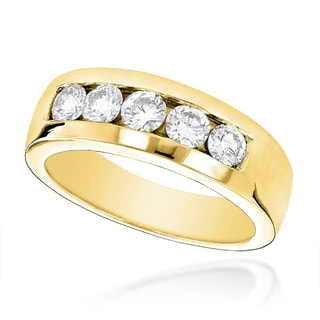Luxurman 14k Gold Men's 1ct TDW 5-stone Diamond Wedding Band (G-H, SI1-SI2)