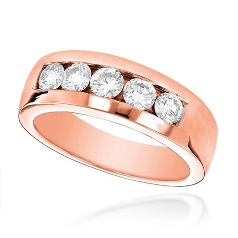 Luxurman 14k Gold Men's 1ct TDW 5-stone Diamond Wedding Band
