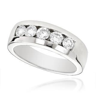 Luxurman 14k Gold Men's 1ct TDW 5-stone Diamond Wedding Band|https://ak1.ostkcdn.com/images/products/11968931/P18853013.jpg?impolicy=medium