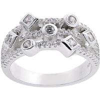 Sterling Silver Cubic Zirconia Geometric Style Pave Ring - White