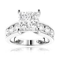 Luxurman 14k Gold 3 2/5ct TDW Round and Princess Diamond Engagement Ring