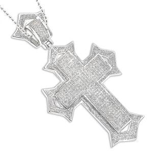 Luxurman Sterling Silver 1 7/8ct TDW Diamond Cross Pendant (H-I, SI2-SI3)