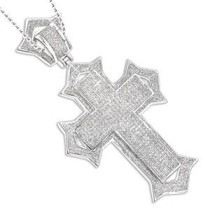 Luxurman Sterling Silver 1 7/8ct TDW Diamond Cross Pendant