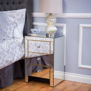 Segundo Three-Drawer Mirrored End Table by Christopher Knight Home