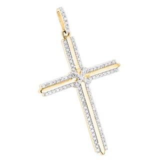 Luxurman 14k Gold 2/5ct TDW Designer Diamond Cross Pendant (H-I, SI1-SI2)
