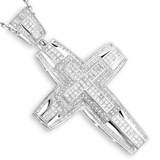 Luxurman 14k Gold Men's 6ct TDW Diamond Cross Pendant (H-I, SI1-SI2)