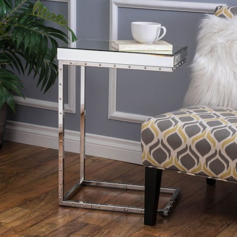 Foothill Studded Mirrored End Table by Christopher Knight Home