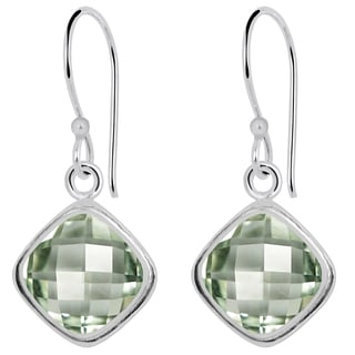Orchid Jewelry 5.60ct Genuine Green Amethyst Sterling Silver Earring