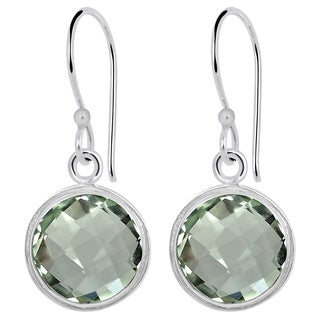 Orchid Jewelry 6.30ct Genuine Green Amethyst Sterling Silver Earring
