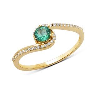 Malaika 14k Yellow Gold 3/8ct TGW Zambian Emerald and White Diamond Ring