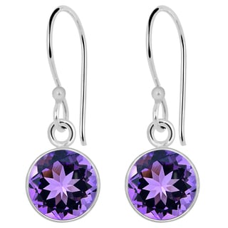 Orchid Jewelry 2.40ct. Genuine Amethyst Sterling Silver Earring