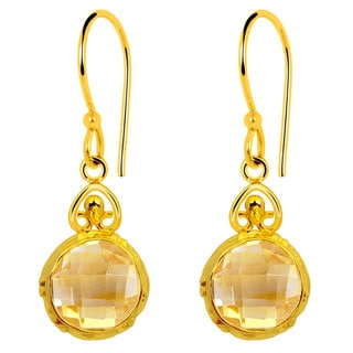 Orchid Jewelry 14k Yellow Gold Over Sterling Silver 5ct. TGW Citrine Earrings