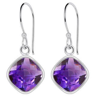 Orchid Jewelry 925 Sterling Silver 7 1/5ct TGW Cushion-cut Purple Amethyst Earrings