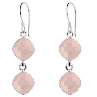 Orchid Jewelry 925 Sterling Silver 14 1/3ct. TGW Cushion-cut Rose Quartz Earrings