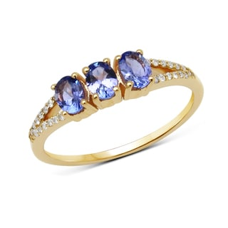Malaika 14k Yellow Gold 5/8ct TGW Tanzanite and White Diamond Ring