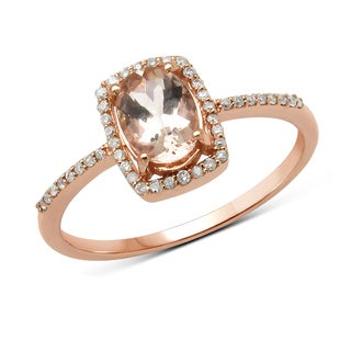Malaika 14k Rose Gold 7/8ct TGW Morganite and White Diamond Ring