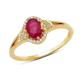 Malaika 14k Yellow Gold 5/8ct TGW Ruby and White Diamond Ring