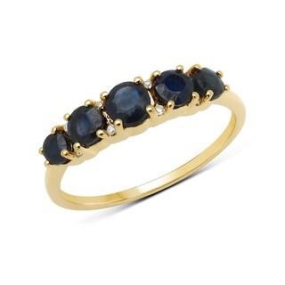 Malaika 14k Yellow Gold 1 1/10ct TGW Blue Sapphire and White Diamond Ring