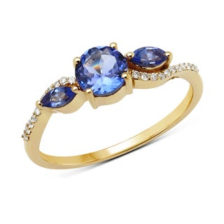 Malaika 14k Yellow Gold 3/4ct TGW Tanzanite and White Diamond Ring