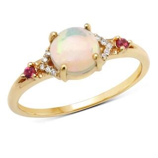 Malaika 14k Yellow Gold 3/5ct TGW Gemstone and White Diamond Ring