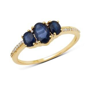 Malaika 14k Yellow Gold 1ct TGW Blue Sapphire and White Diamond Ring
