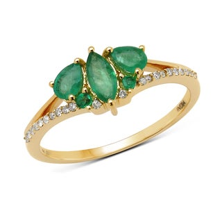 Malaika 14k Yellow Gold 5/8ct TGW Zambian Emerald and White Diamond Ring