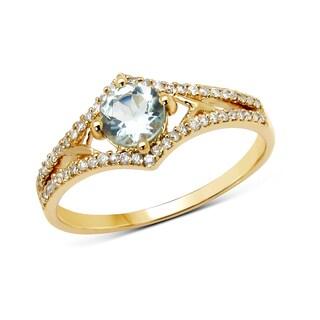 Malaika 14k Yellow Gold 5/8ct TGW Aquamarine and White Diamond Ring
