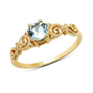 Malaika 14k Yellow Gold 1/2ct TGW Aquamarine and White Diamond Ring