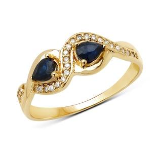 Malaika 14k Yellow Gold 1/2ct TGW Blue Sapphire and White Diamond Ring