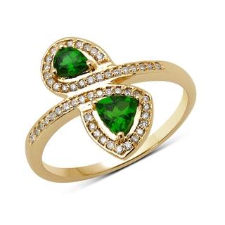 Malaika 14k Yellow Gold 1/2ct TGW Chrome Diopside and White Diamond Ring