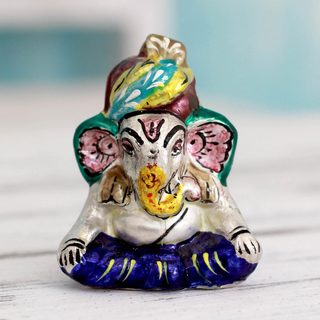 Handmade Sterling Silver 'Varanasi Ganesha' Sculpture (India)
