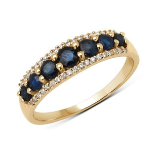 Malaika 14k Yellow Gold 3/4ct TGW Blue Sapphire and White Diamond Ring