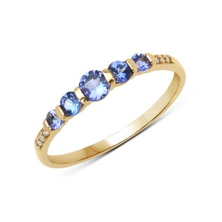 Malaika 14k Yellow Gold 2/5ct TGW Tanzanite and White Diamond Ring