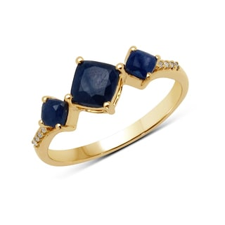 Malaika 14k Yellow Gold 1 1/10ct TGW Blue Sapphire and White Diamond Ring