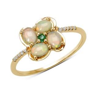 Malaika 14k Yellow Gold 1/2ct TGW Opal, Emerald, and White Diamond Ring