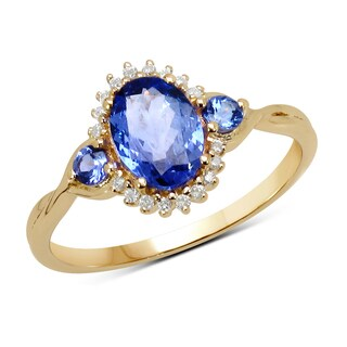 Malaika 14k Yellow Gold 1ct TGW Tanzanite and White Diamond Ring