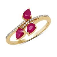 Malaika 14k Yellow Gold 3/4ct TGW Ruby and White Diamond Ring